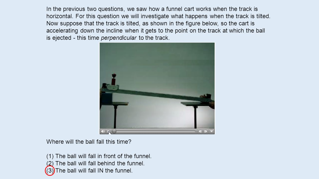In the previous two questions, we saw how a funnel cart works when the track is horizontal. For this question we will investigate what happens when the track is tilted. Now suppose that the track is tilted, as shown in the figure below, so the cart is accelerating down the incline when it gets to the point on the track at which the ball is ejected - this time perpendicular to the track.