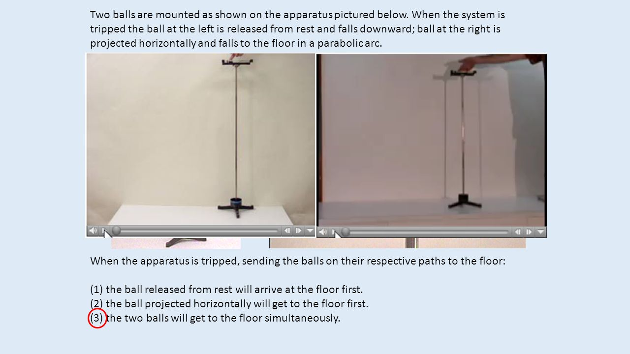 Two balls are mounted as shown on the apparatus pictured below