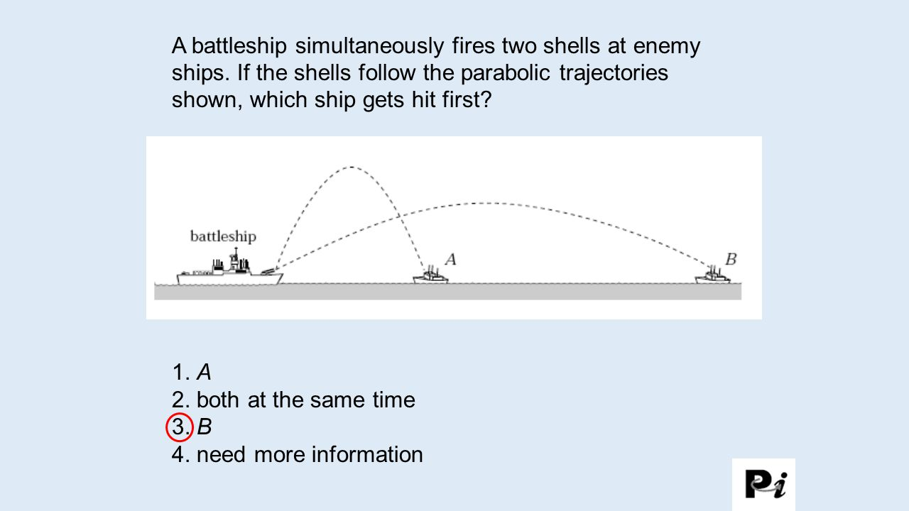 A battleship simultaneously fires two shells at enemy ships