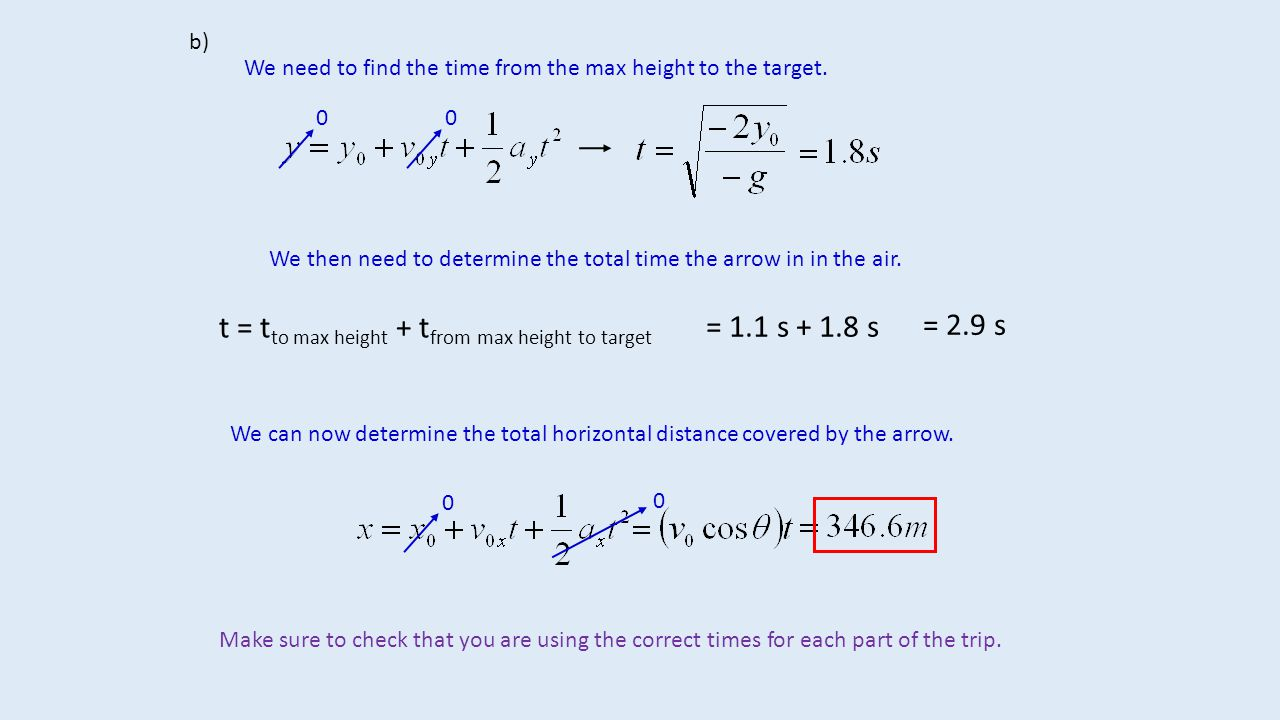 t = tto max height + tfrom max height to target = 1.1 s + 1.8 s