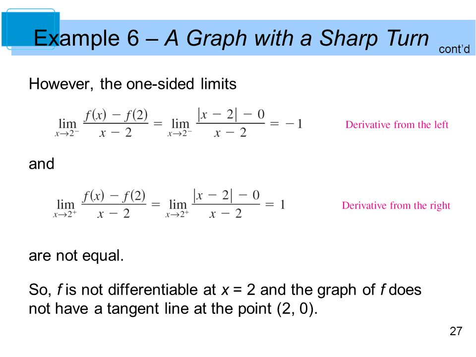 Example 6 – A Graph with a Sharp Turn