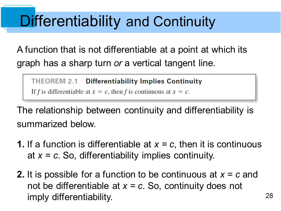 differentiability and continuity relationship goals
