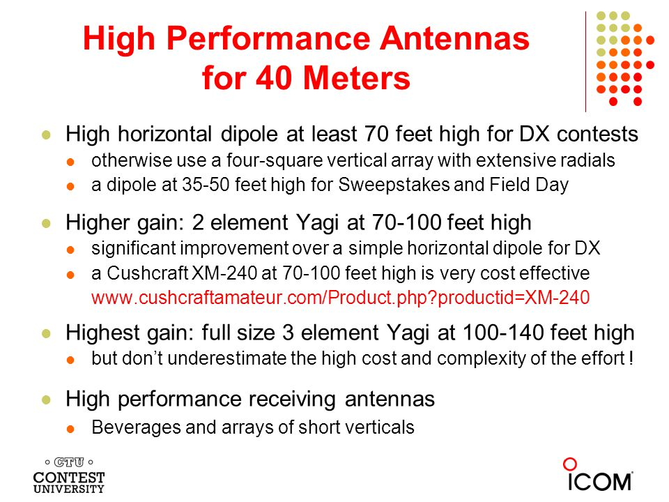 High Performance Antennas for 40 Meters