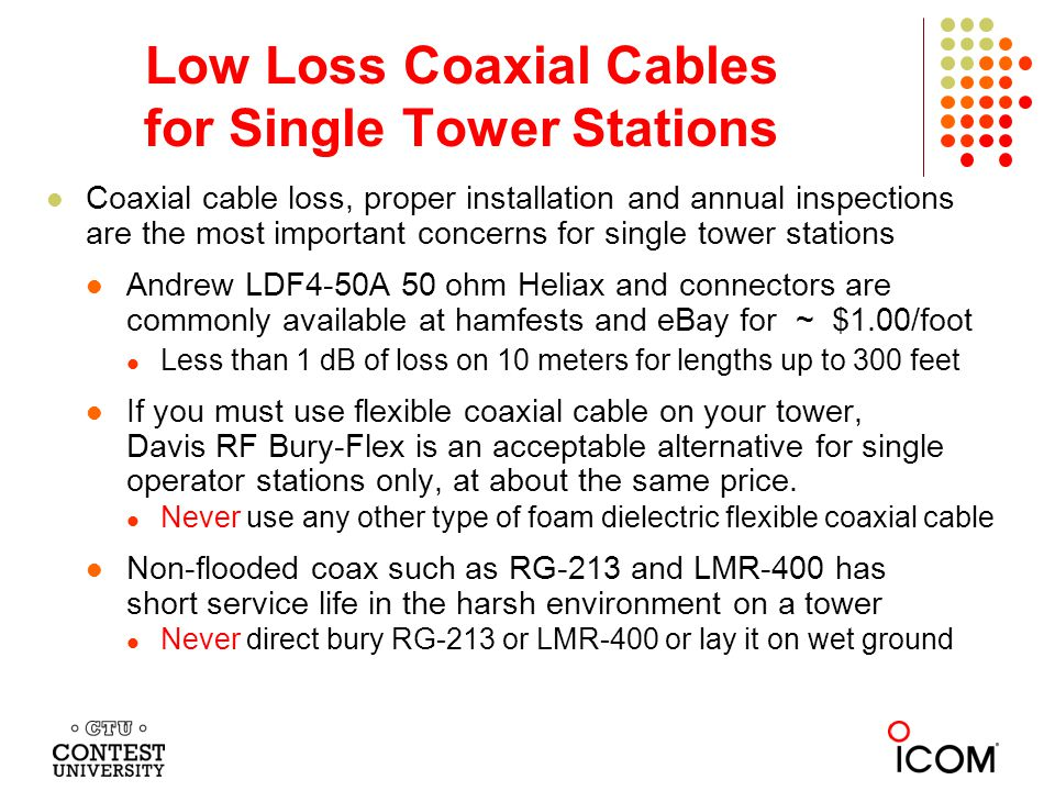 Low Loss Coaxial Cables for Single Tower Stations