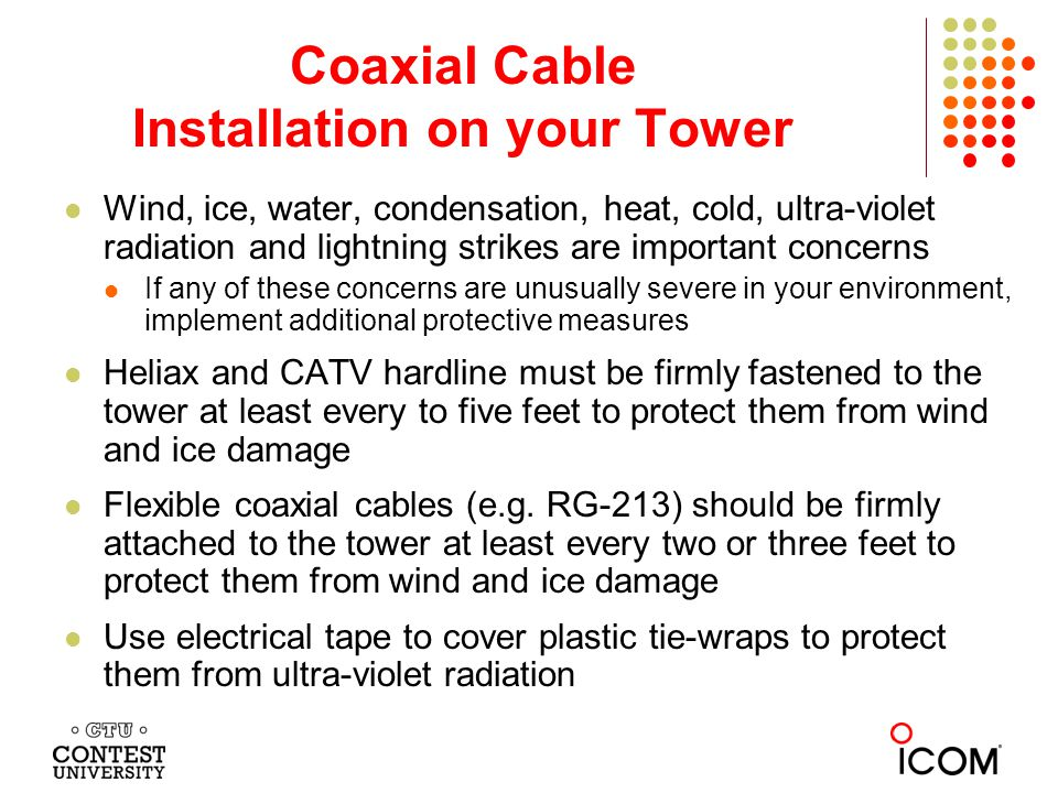 Coaxial Cable Installation on your Tower
