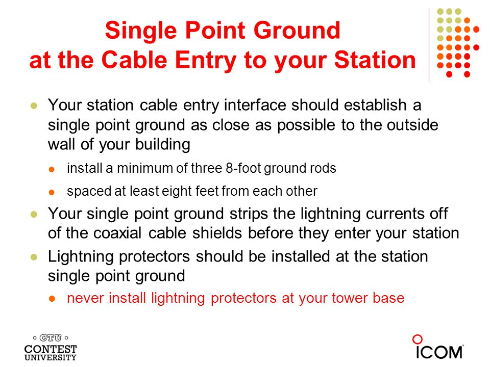 Single Point Ground at the Cable Entry to your Station
