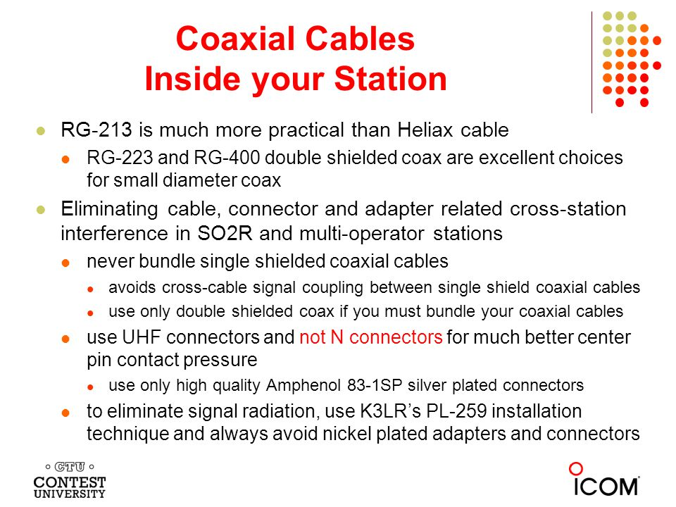 Coaxial Cables Inside your Station