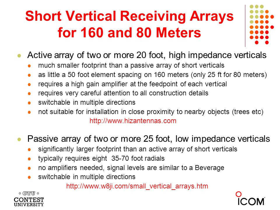 Short Vertical Receiving Arrays for 160 and 80 Meters