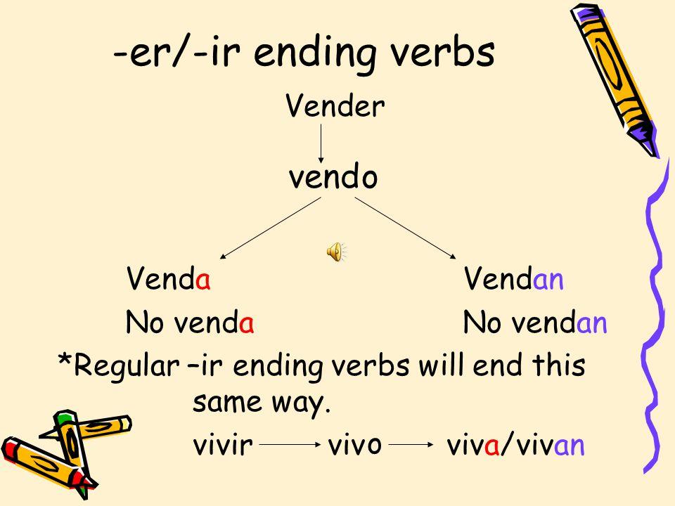-er/-ir ending verbs vend o Vender Venda Vendan No venda No vendan