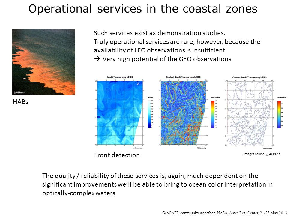 Operational services in the coastal zones