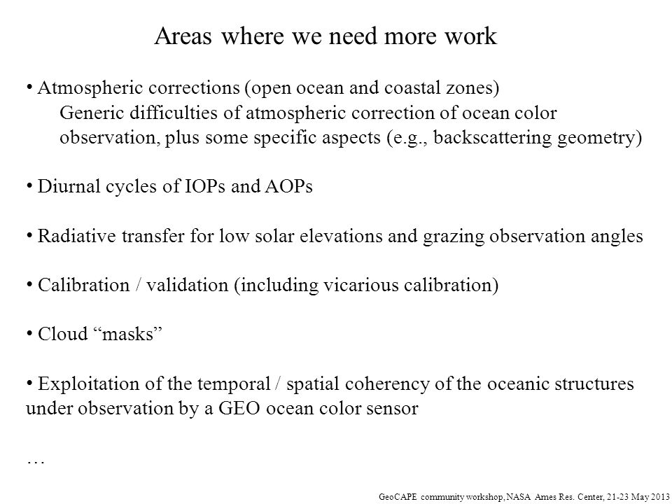 Areas where we need more work
