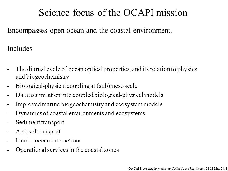 Science focus of the OCAPI mission