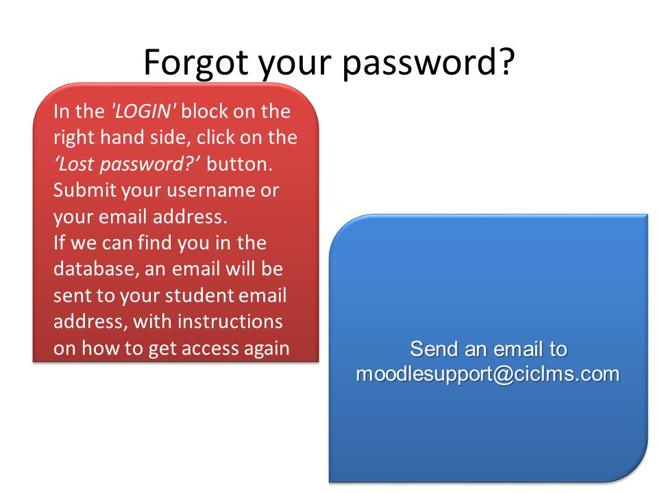 Forgot your password In the LOGIN block on the right hand side, click on the 'Lost password ' button.