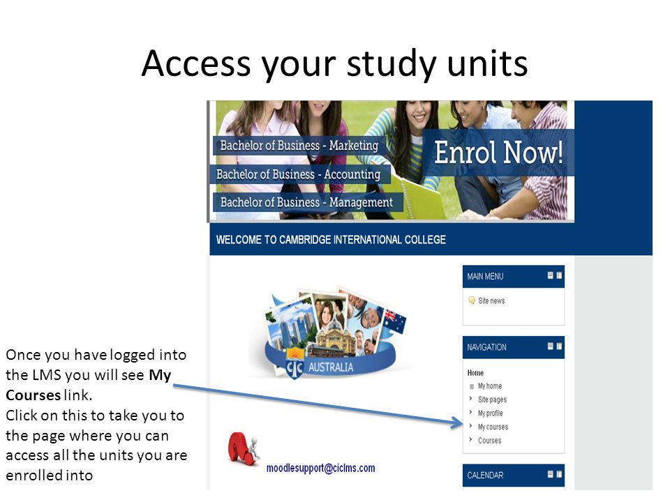 Access your study units
