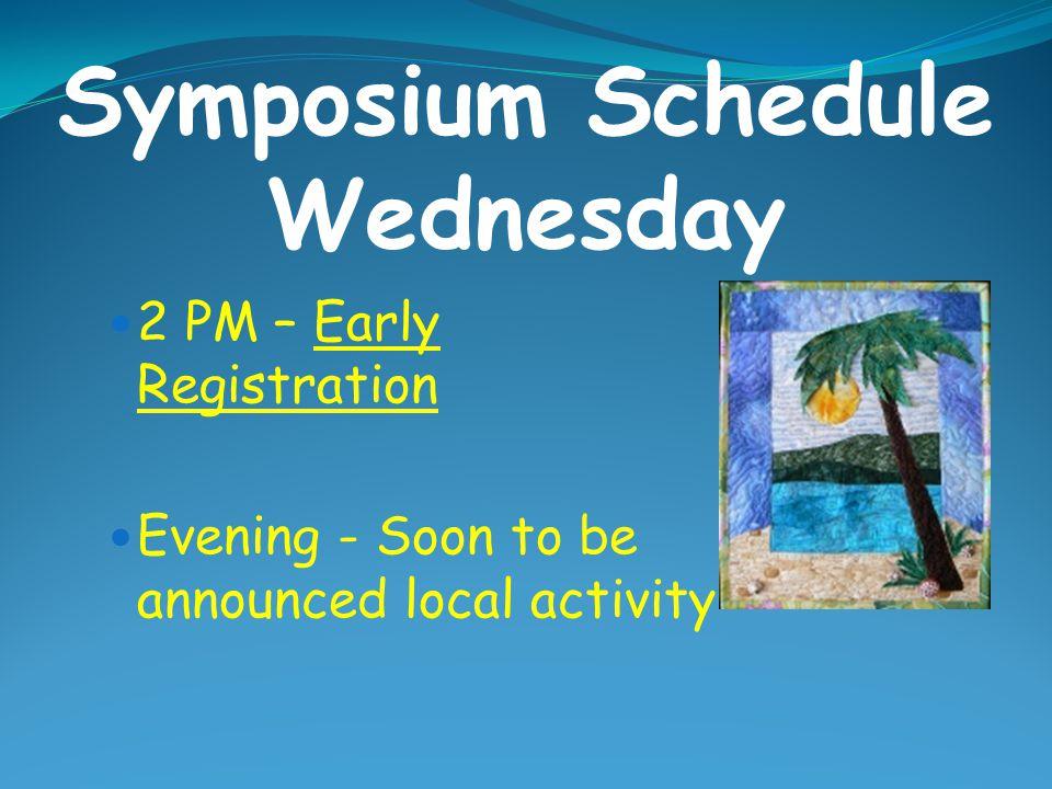 Symposium Schedule Wednesday