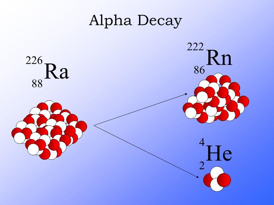 Alpha Decay Rn 222 86 He 4 2 Ra 226 88