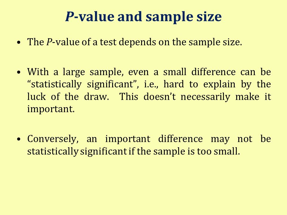 P-value and sample size
