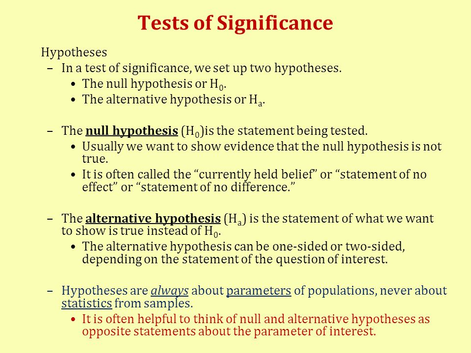 Tests of Significance Hypotheses