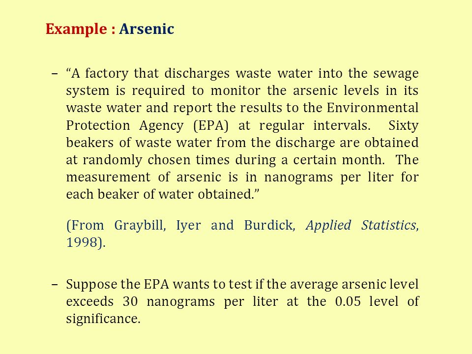 Example : Arsenic