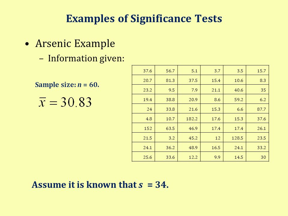 Examples of Significance Tests