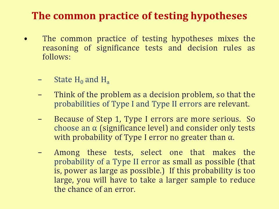 The common practice of testing hypotheses