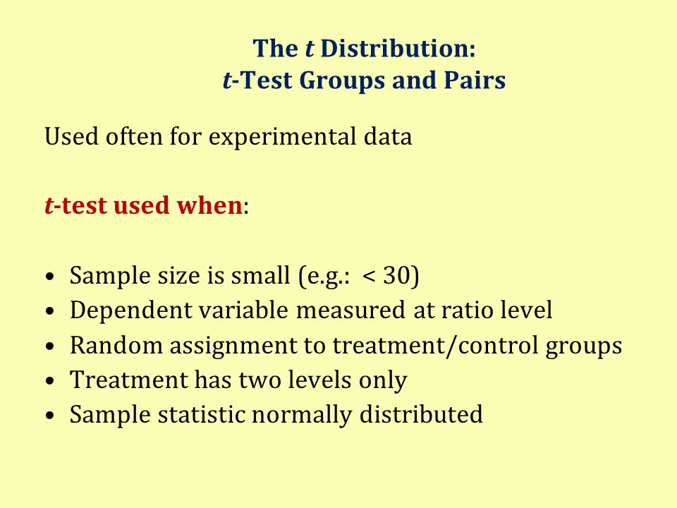The t Distribution: t-Test Groups and Pairs