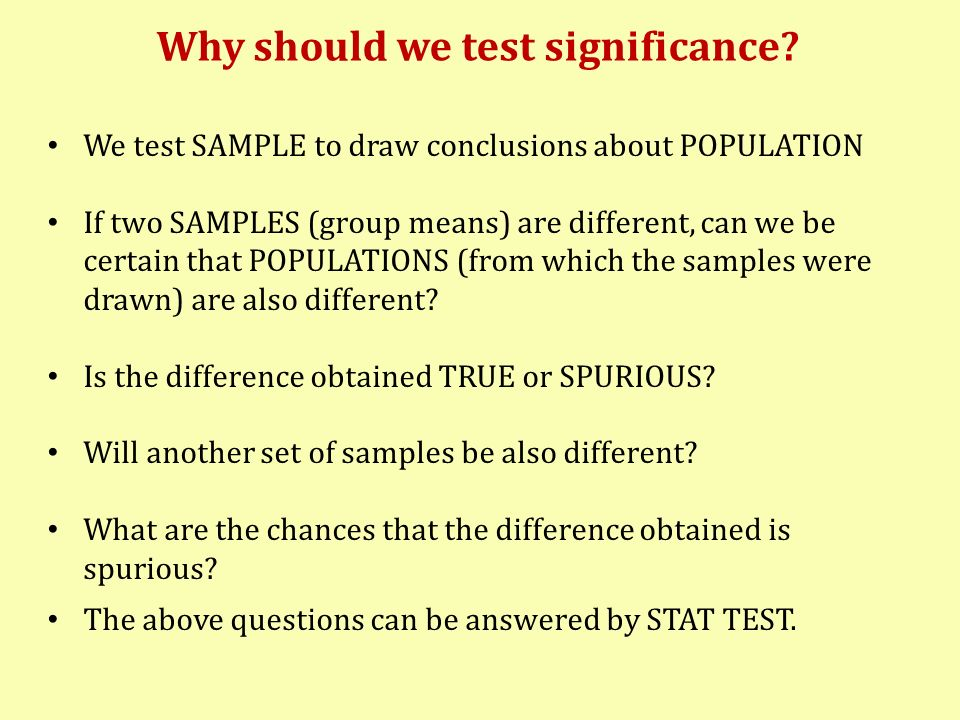 Why should we test significance