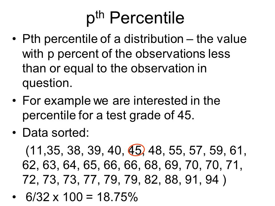pth Percentile Pth percentile of a distribution – the value with p percent of the observations less than or equal to the observation in question.