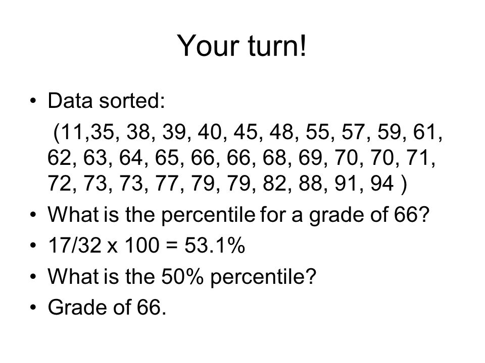 Your turn! Data sorted: