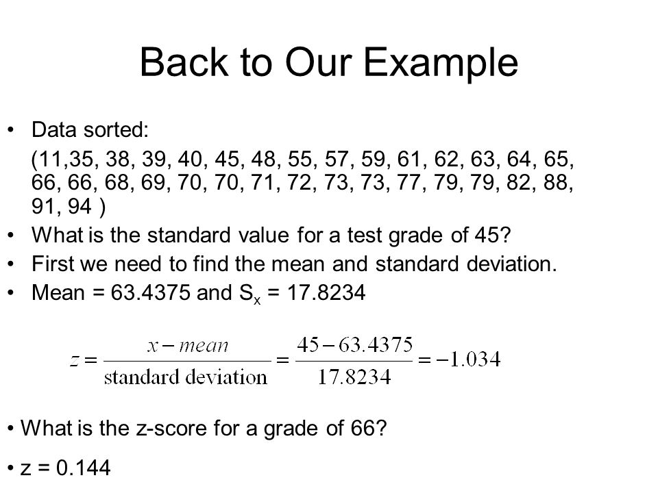 Back to Our Example Data sorted: