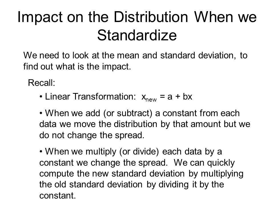 Impact on the Distribution When we Standardize