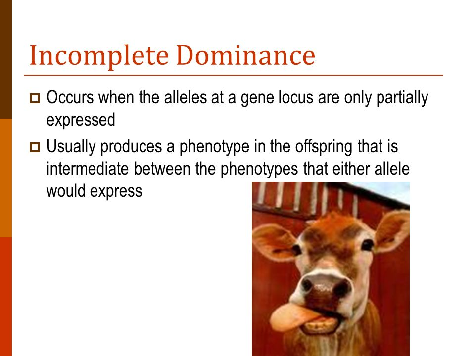 Incomplete Dominance Occurs when the alleles at a gene locus are only partially expressed.