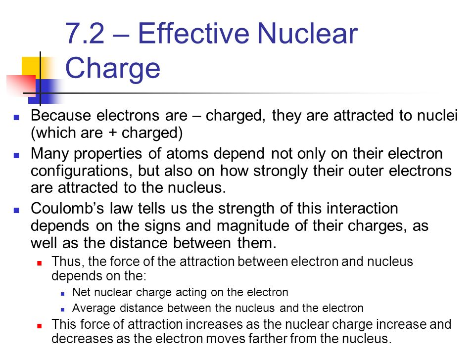 7.2 – Effective Nuclear Charge