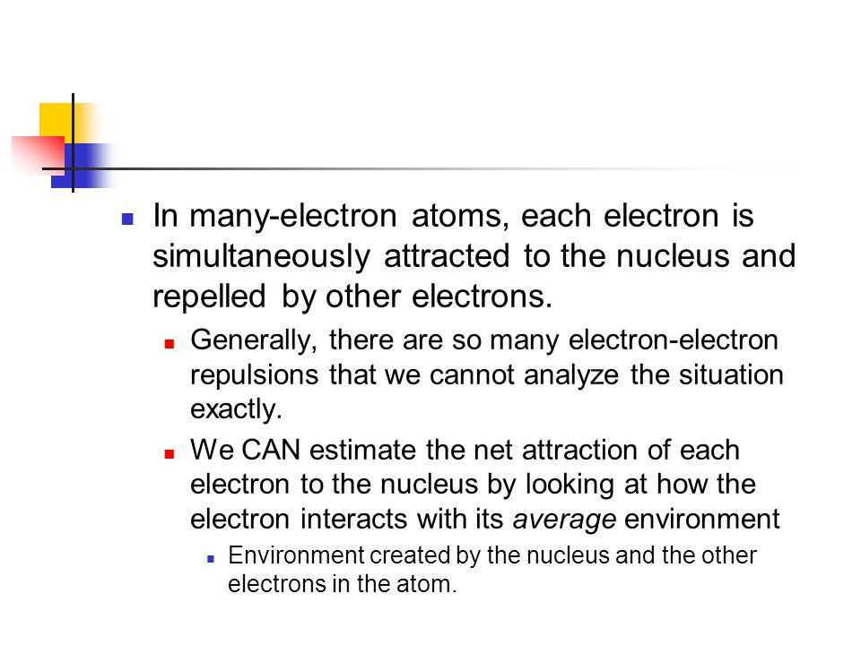 In many-electron atoms, each electron is simultaneously attracted to the nucleus and repelled by other electrons.