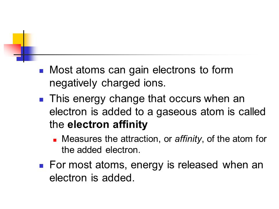 Most atoms can gain electrons to form negatively charged ions.
