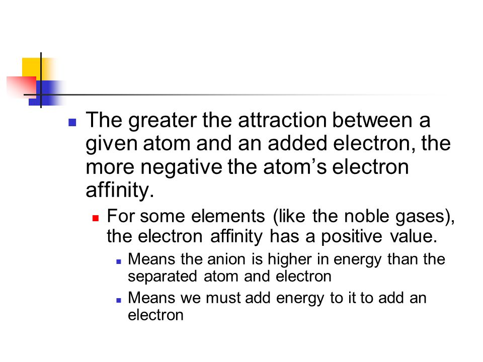 The greater the attraction between a given atom and an added electron, the more negative the atom's electron affinity.