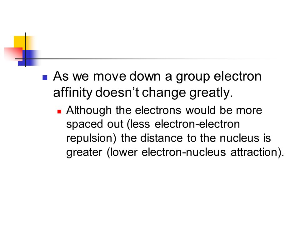 As we move down a group electron affinity doesn't change greatly.