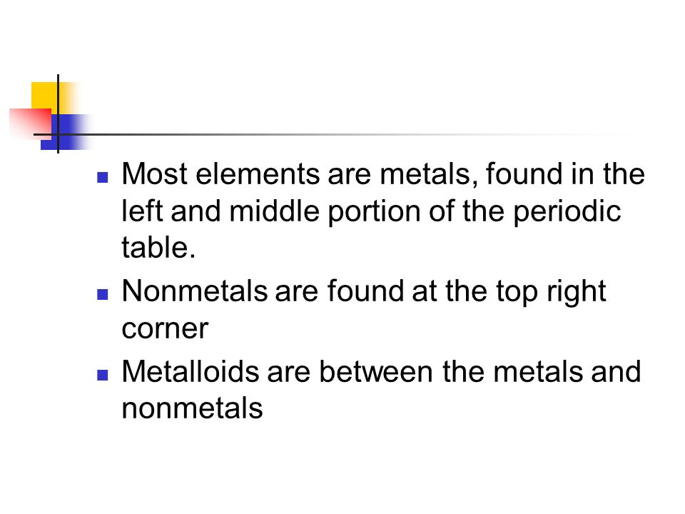 Most elements are metals, found in the left and middle portion of the periodic table.