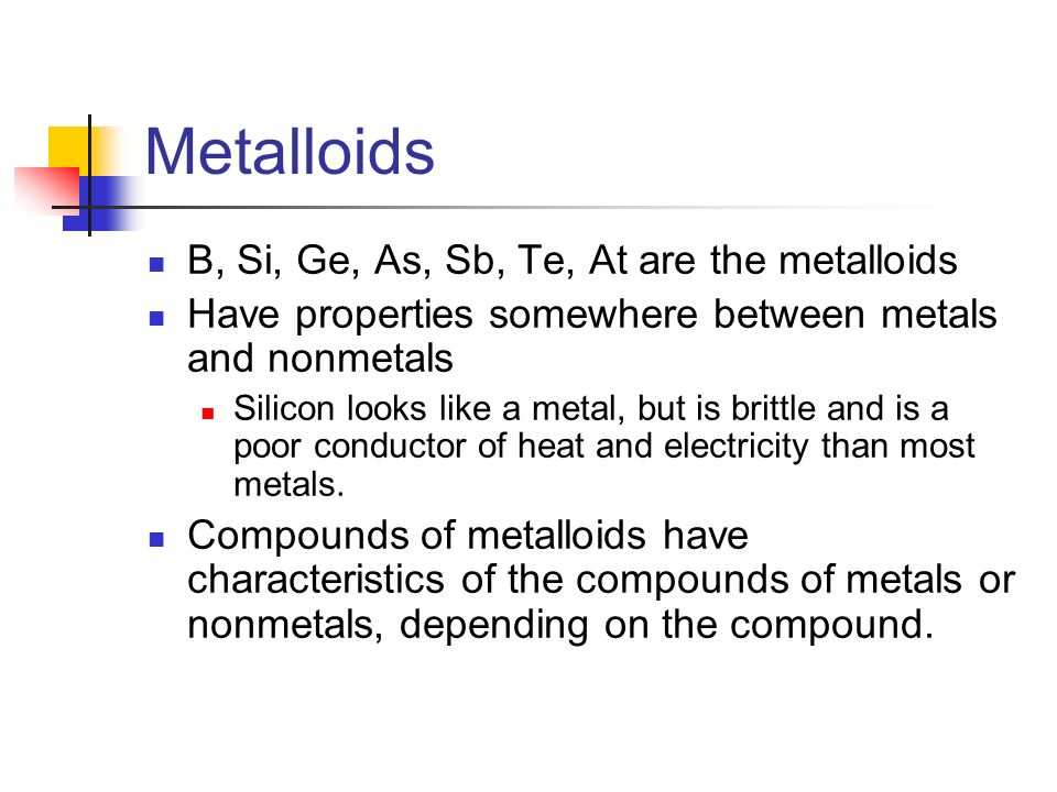 Metalloids B, Si, Ge, As, Sb, Te, At are the metalloids