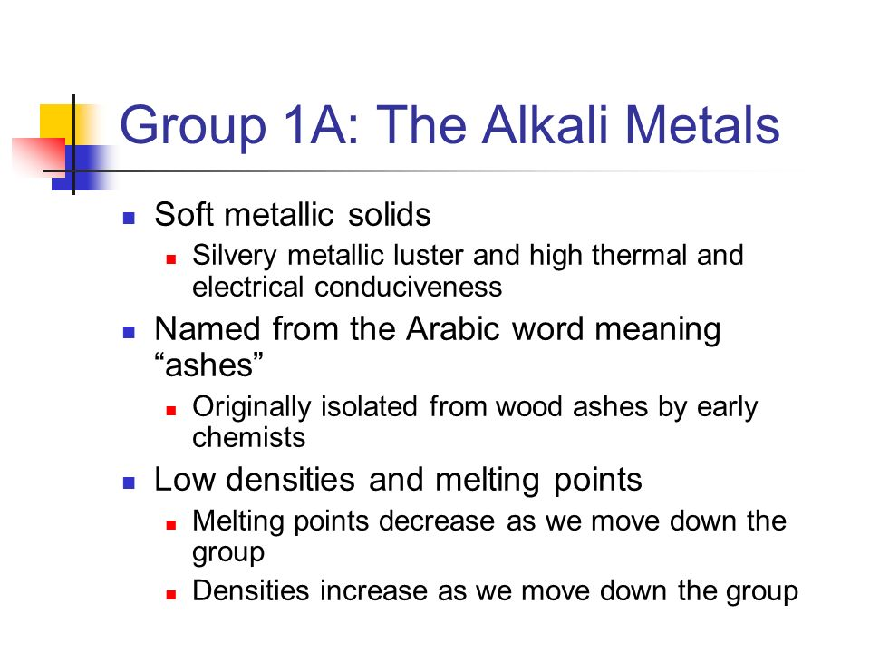 Group 1A: The Alkali Metals