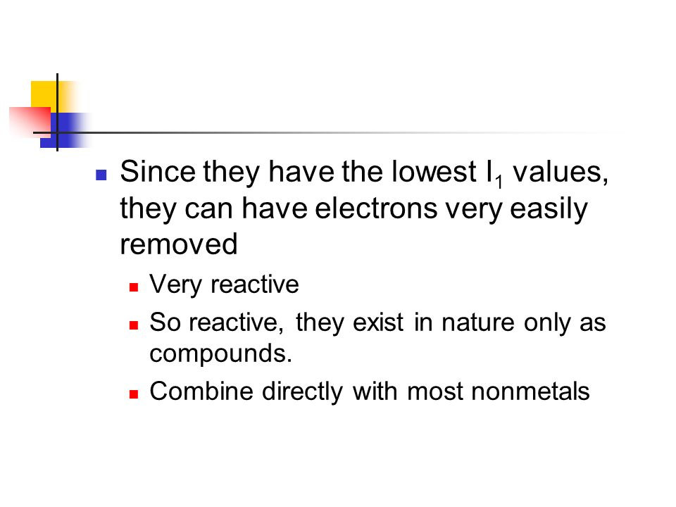 Since they have the lowest I1 values, they can have electrons very easily removed
