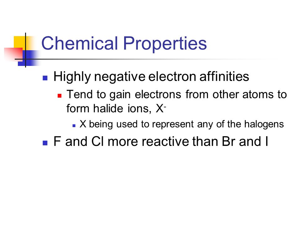 Chemical Properties Highly negative electron affinities