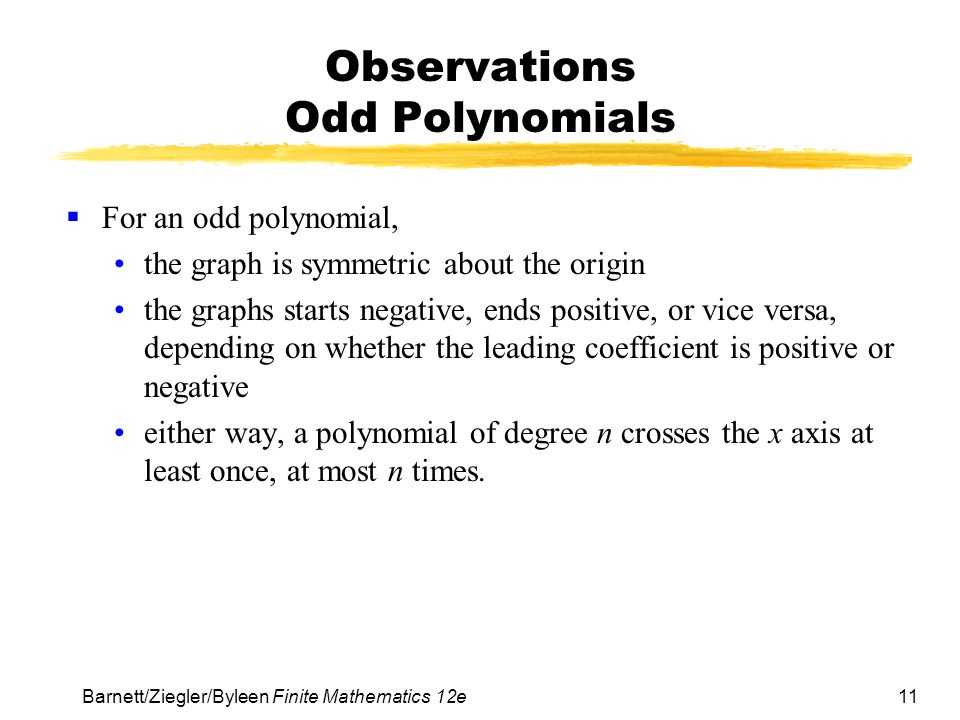 Observations Odd Polynomials