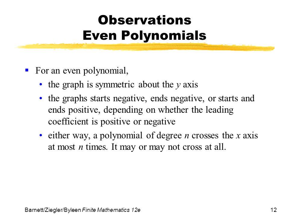 Observations Even Polynomials