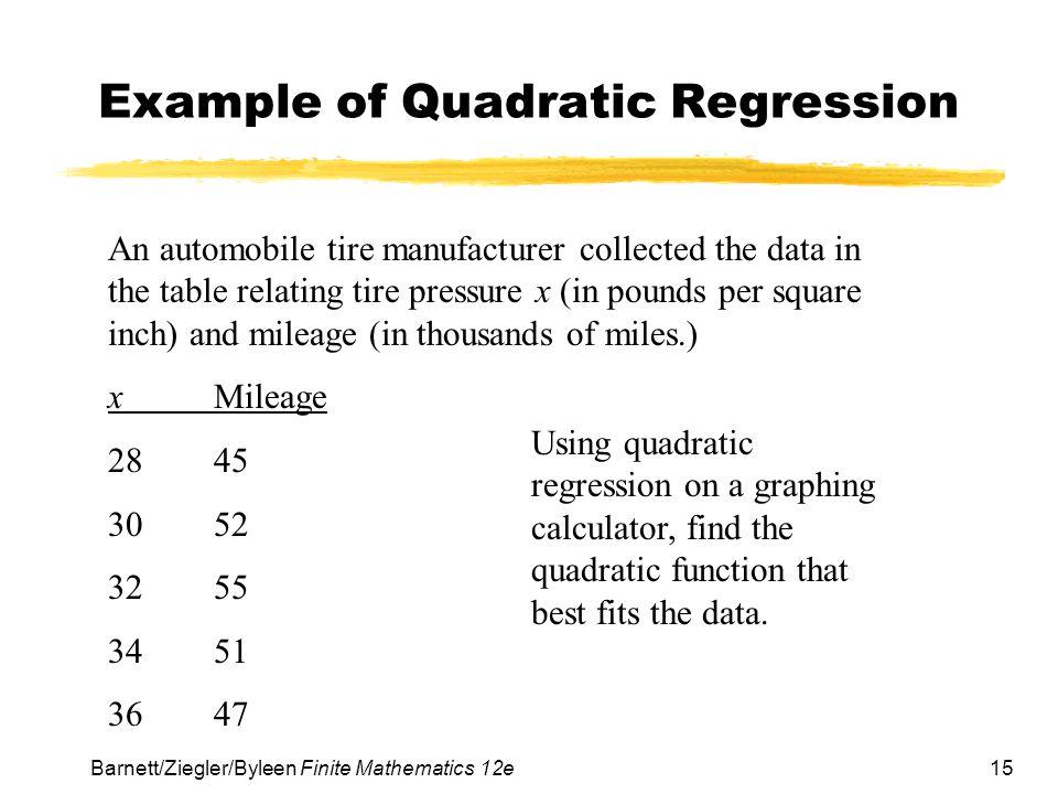 Example of Quadratic Regression