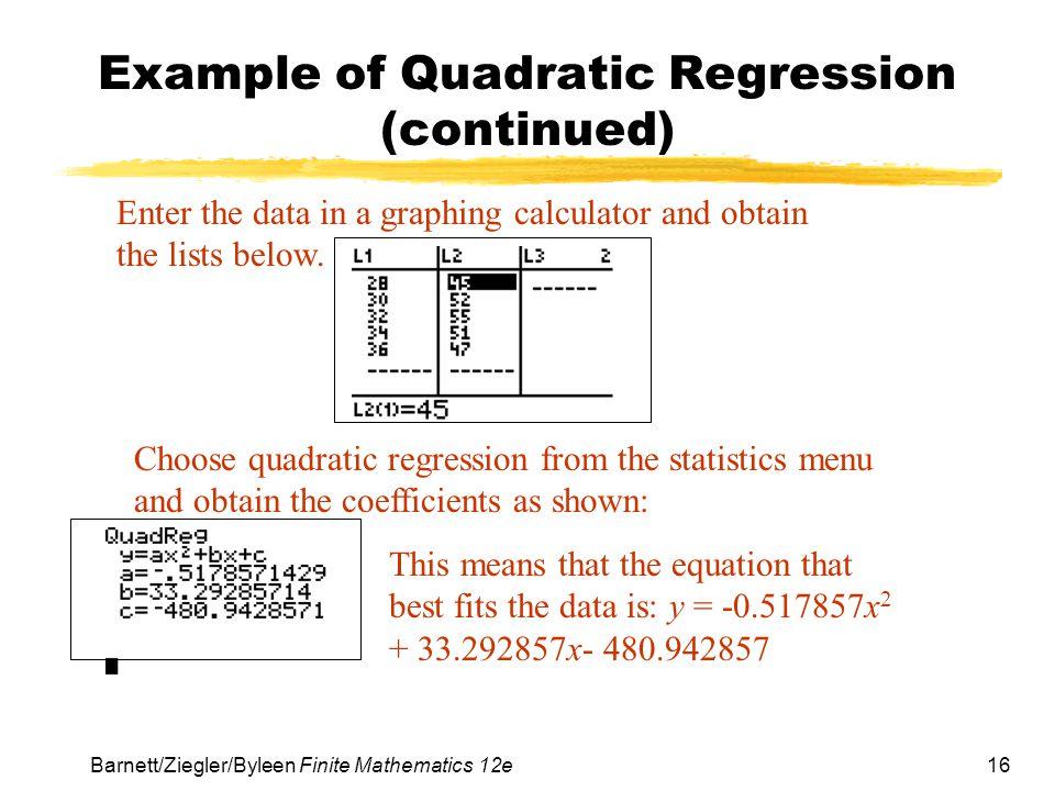 Example of Quadratic Regression (continued)
