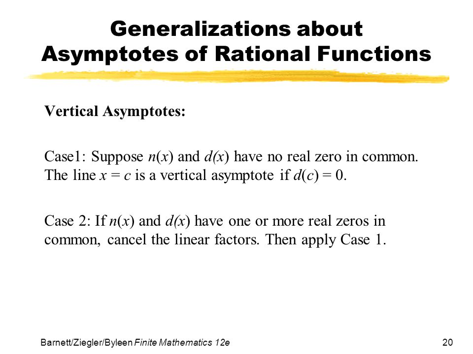Generalizations about Asymptotes of Rational Functions