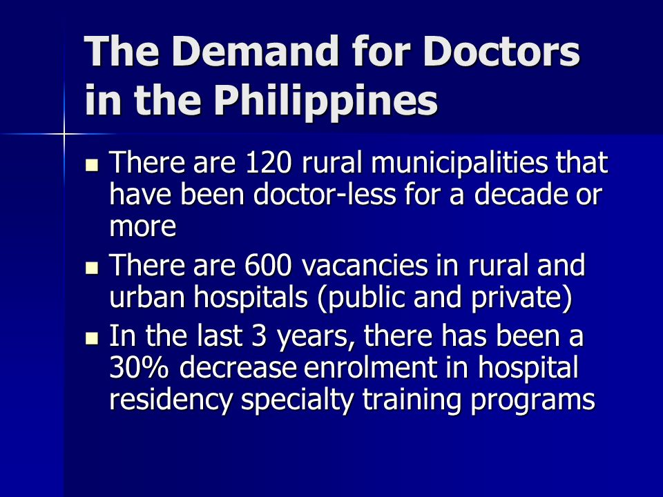 The Demand for Doctors in the Philippines