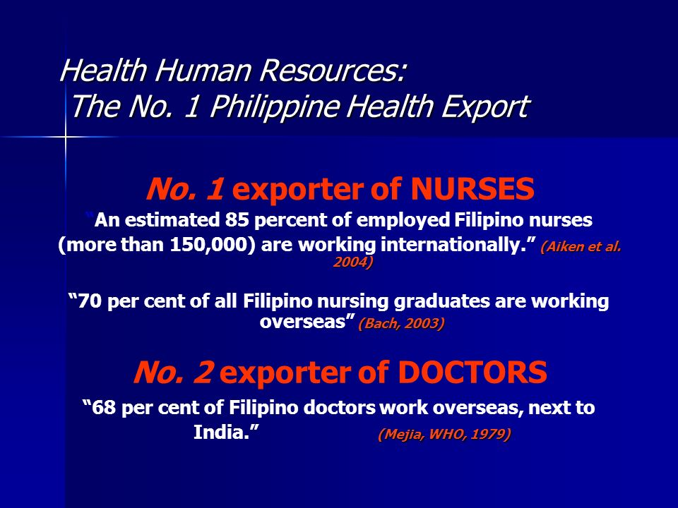 Health Human Resources: The No. 1 Philippine Health Export