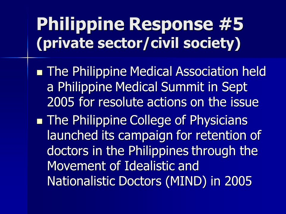 Philippine Response #5 (private sector/civil society)